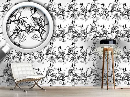 Pattern Wallpaper Birds On Branches