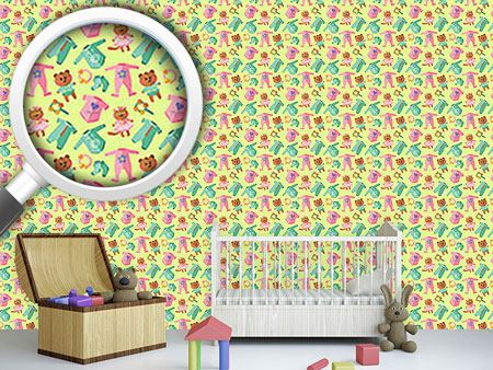 Pattern Wallpaper Baby Clothes And Toys