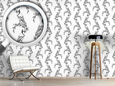 Pattern Wallpaper Vintage Woodpecker