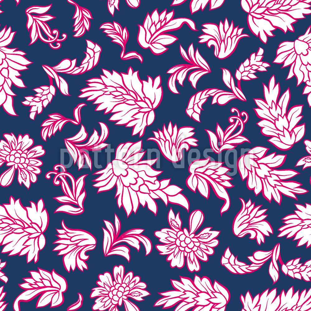 Pattern Wallpaper Leafage Dark Blue