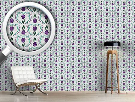 Pattern Wallpaper Flowers With Tendrils