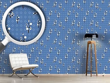 Pattern Wallpaper Hanami Blue