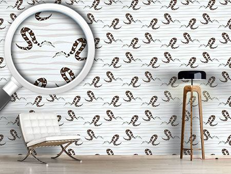 Pattern Wallpaper Water Snakes Black