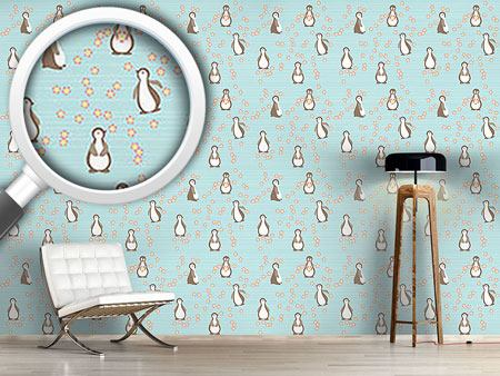 Pattern Wallpaper Penguin Blossom