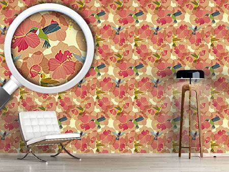 Pattern Wallpaper Hummingbird Marriage On Hibiscus