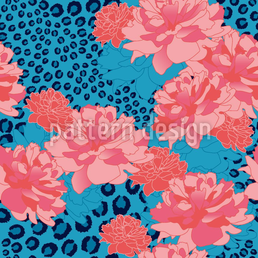 Pattern Wallpaper Leopards Love Peonies