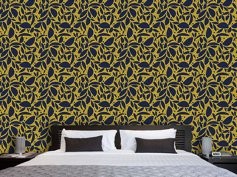 Pattern Wallpaper Gold Leaf Silhouettes