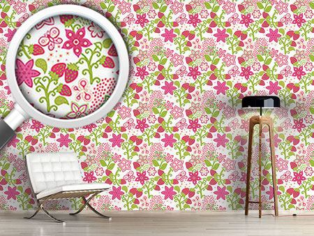 Pattern Wallpaper Strawberry Paradise