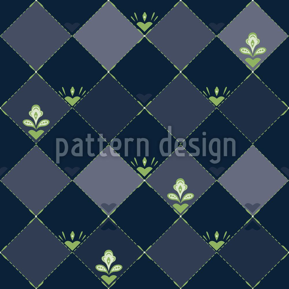 Papier peint design Checkerboard Flowers