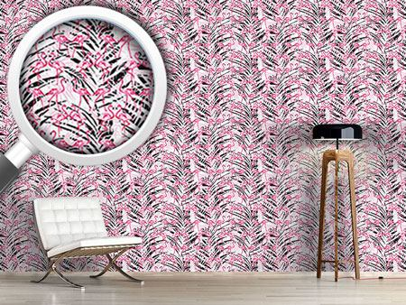 Pattern Wallpaper Flamingos In Palm Beach