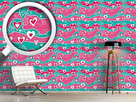 Pattern Wallpaper Sweet Heart Ocean
