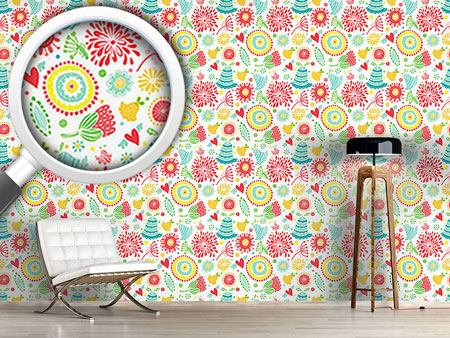 Pattern Wallpaper Floral Happyness