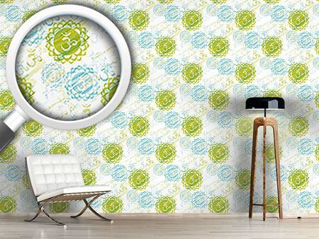 Pattern Wallpaper Om Green