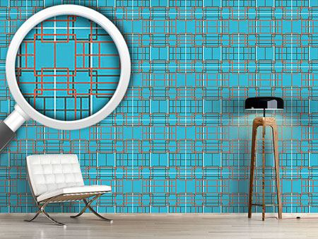 Pattern Wallpaper Asian Lattice Turquoise