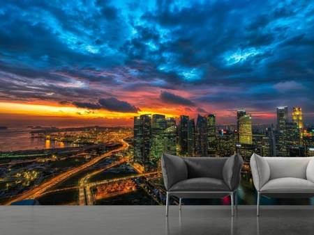 Photo Wallpaper Skyline with glowing sky