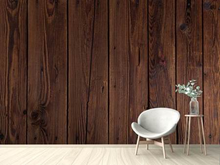 Photo Wallpaper Dark wood panels