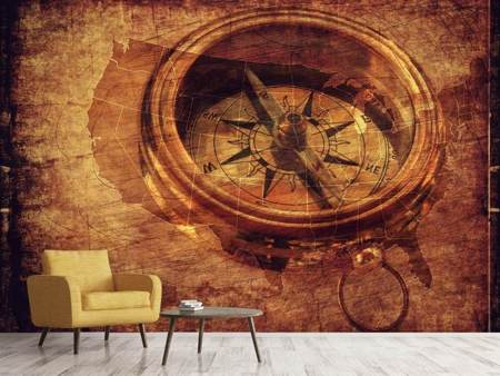 Fotobehang Antique compass XL