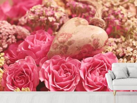 Photo Wallpaper Romantic roses with heart