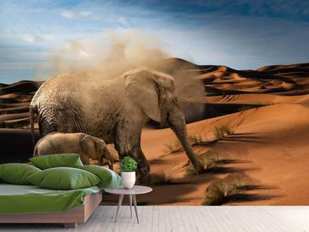 Photo Wallpaper Elephants in the desert
