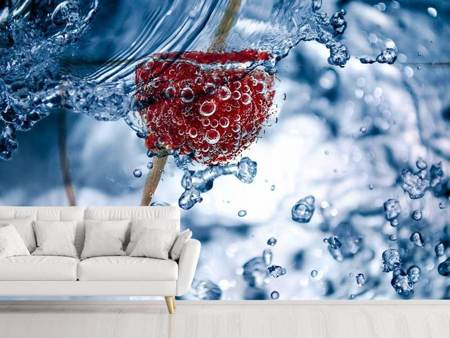 Photo Wallpaper Raspberry in the water