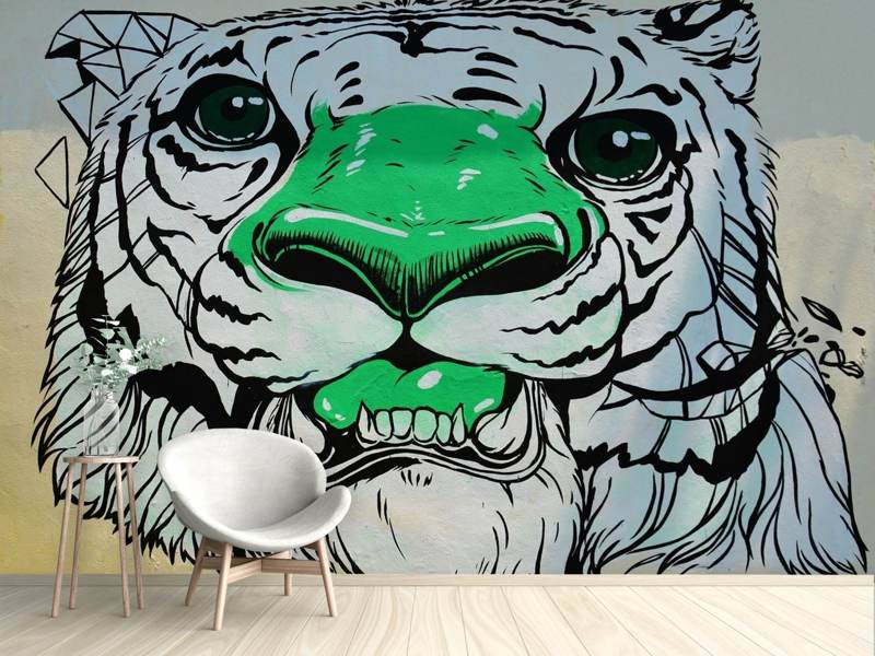 Papier peint photo Tigre graffiti