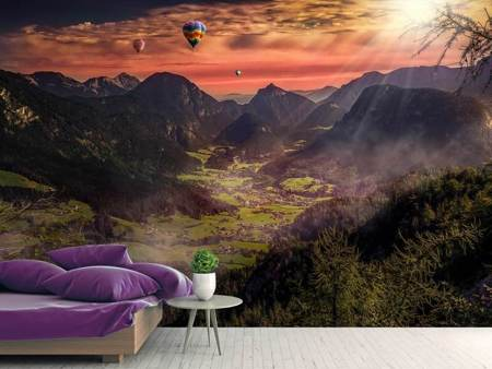 Photo Wallpaper Hot air balloons in the sunset