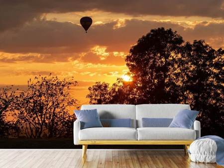 Photo Wallpaper Towards the sun with the hot air balloon
