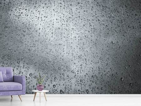 Photo Wallpaper Dark raindrops on the wall