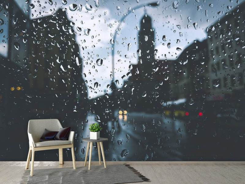 Photo Wallpaper Raindrops on the windowpane