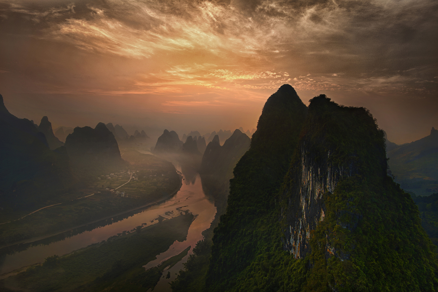 Photo Wallpaper Dawn At Li River