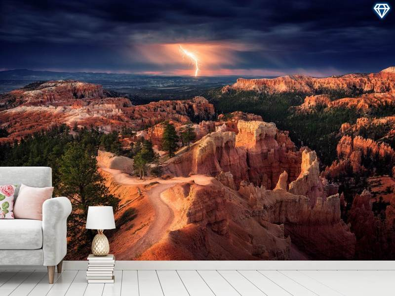 Papier peint photo Lightning Over Bryce Canyon