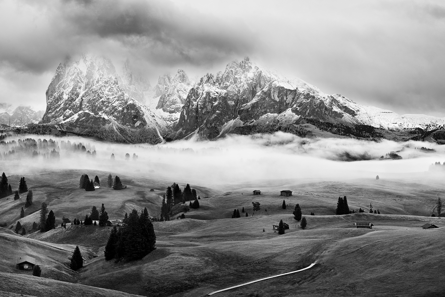 Photo Wallpaper Foggy Dolomites