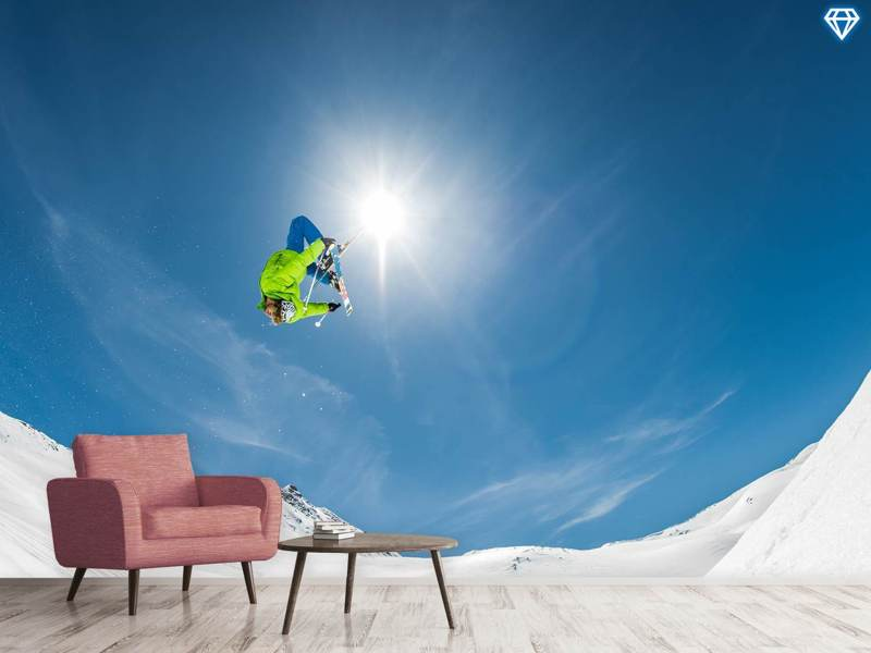 Photo Wallpaper Backflip Crossed Skis