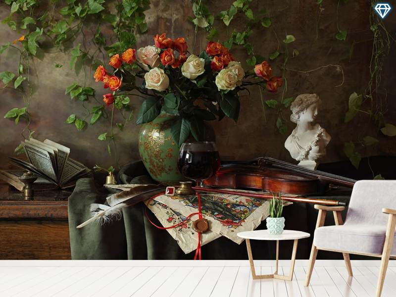 Photo Wallpaper Still Life With Violin And Flowers III