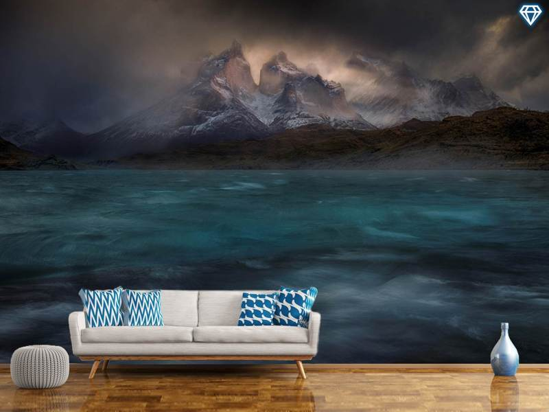 Fotobehang Stormy Winds Over The Torres Del Paine
