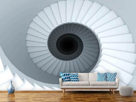 Fotobehang 3D Spiral Staircase