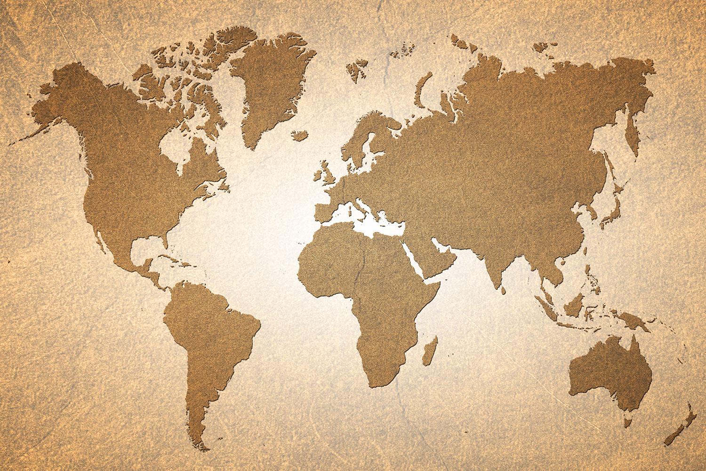 Fototapete Karte der Welt in Vintage