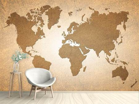 Fotobehang Map Of The World In Vintage