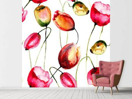 Papier peint photo Peinture de tulipes