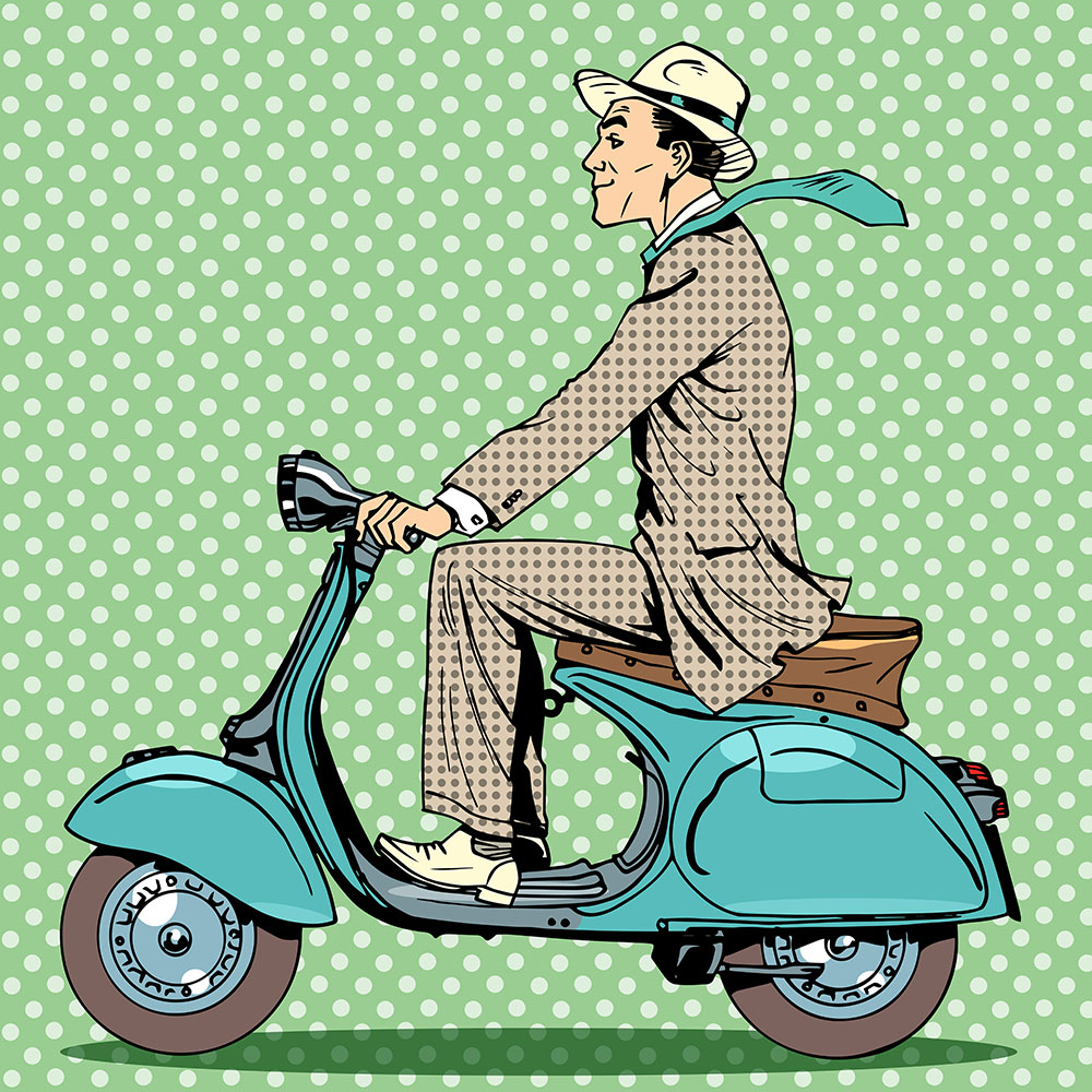 Wallpaper Pop Art Vespa Driver